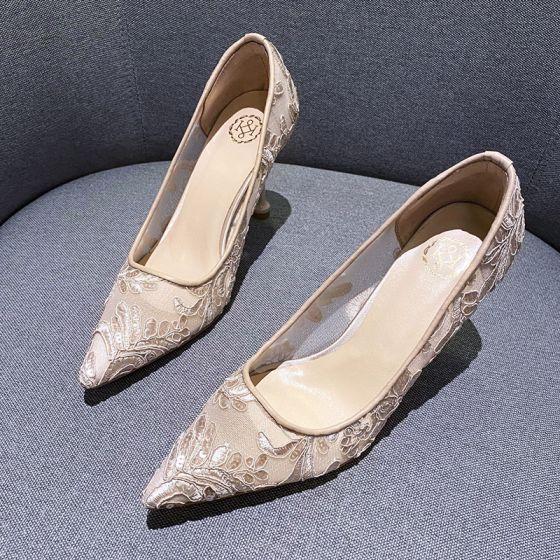 Sjarmerende Champagne Gjennomsiktig Blomst Blonder Brudesko 2020 8 cm Stiletthæler Spisse Bryllup Pumps