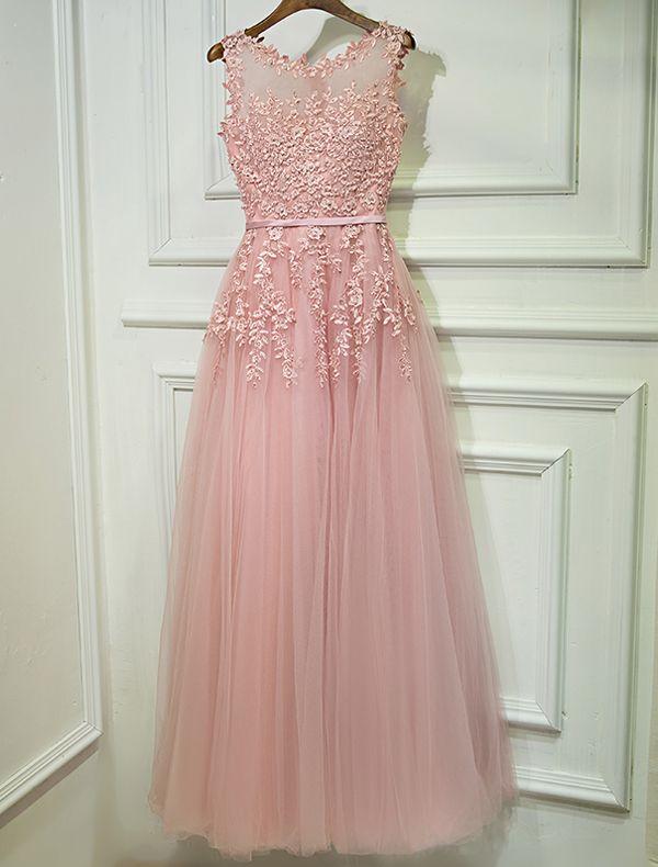 Abendkleider 2017 Schaufelausschnitt Applique Spitze Die Perlenrosa Langes Kleid Bördelt