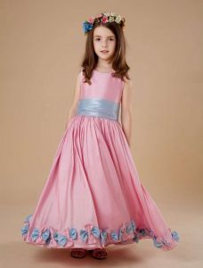 Pink Sash Flower Decoration Satin Flower Girl Dress