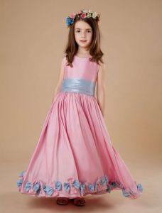 Pink Sash Flower Decoration Satin Flower Girl Dress