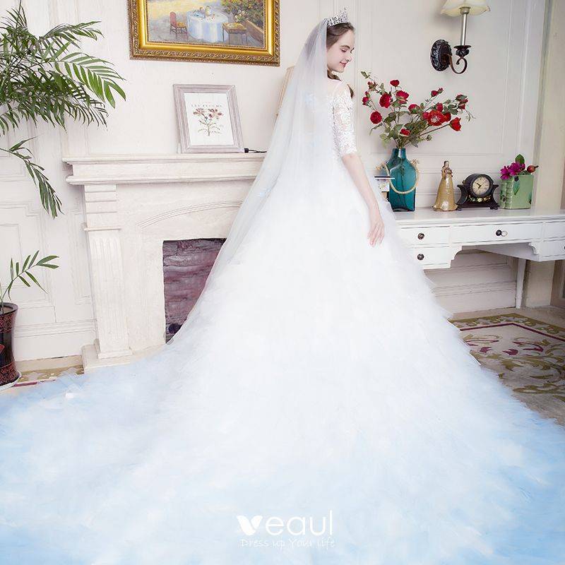 Stunning White Gradient Color Sky Blue Pierced Wedding Dresses 2017 Ball Gown Scoop Neck 3 4