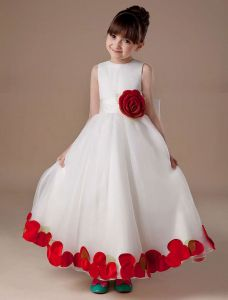 White Sleeveless Satin Organza Flower Girl Dress