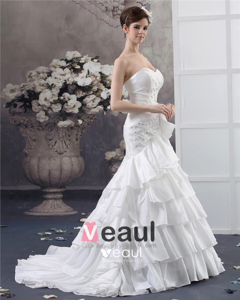 Sweetheart Beading Floor Length Taffeta Ball Gown Wedding Dress