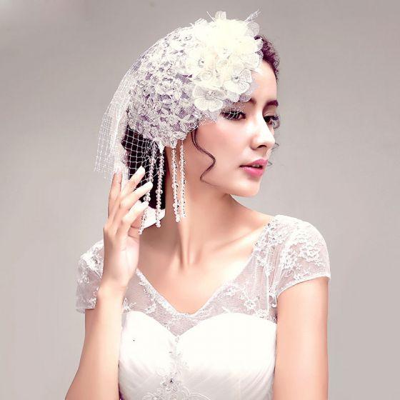 Glans Rhinestone Blonder Blomster Brude Hodeplagg / Hode Blomst / Bryllup Har Tilbehør / Bryllup Smykker
