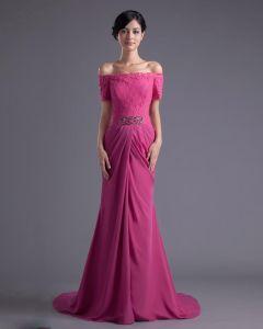 Lacet De Mode De Mousseline De Soie Perlee Hors Epaule Etage Robe De Celebrite De Longueur