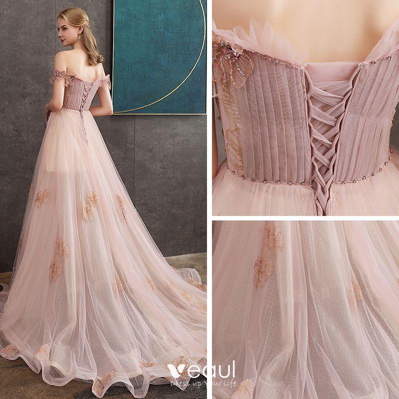 High End Pearl Rosa Abendkleider 2020 A Linie Off Shoulder ...