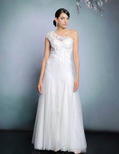 Blancs Appliques De Perles Robe Robe De Soirée Longue De Soirée