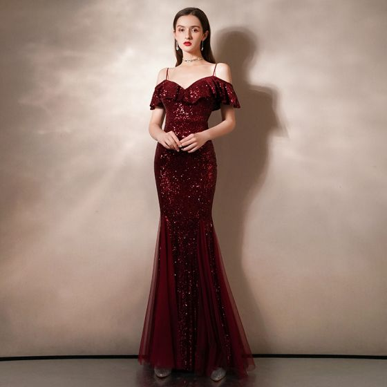 Sparkly Burgundy Sequins Evening Dresses  2020 Trumpet / Mermaid Spaghetti Straps Short Sleeve Floor-Length / Long Ruffle Backless Formal Dresses