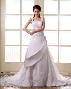 Satin Perle Dentelle Epaule Tribunal Des Bretelles A-ligne De Robe De Mariage Nuptiale Robe