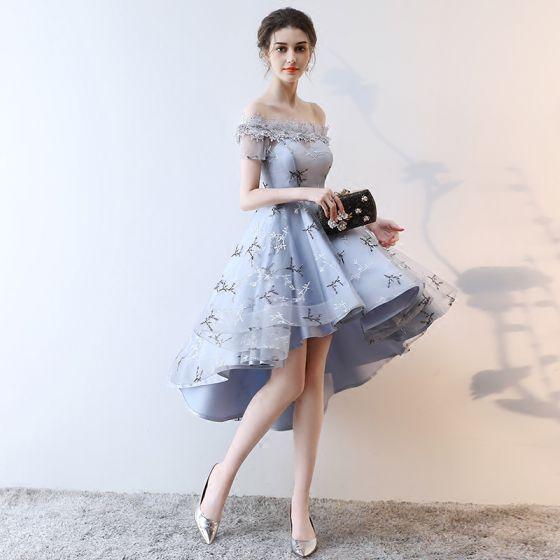 Mode Grau Cocktailkleider 2018 A Linie Asymmetrisch Applikationen Spitze Schleife Off Shoulder Rückenfreies Kurze Ärmel Festliche Kleider