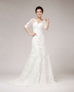V-ausschnitt Strass Bodenlange Hälfte Hülsen-spitze A Linie Hochzeitskleid Brautkleider