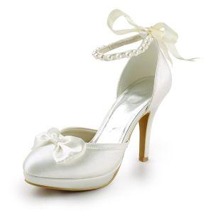 Princesse Chaussures De Mariée Ivoire Satin Sandales Bride À La Cheville De Stilettos Avec Noeud