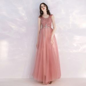 Affordable Pearl Pink Evening Dresses  2019 A-Line / Princess Shoulders Sleeveless Rhinestone Sash Sequins Floor-Length / Long Ruffle Backless Formal Dresses