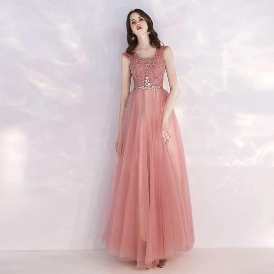 Affordable Pearl Pink Evening Dresses  2019 A-Line / Princess Shoulders Sleeveless Rhinestone Sash Sequins Floor-Length / Long Ruffle Backless Formal Dresses