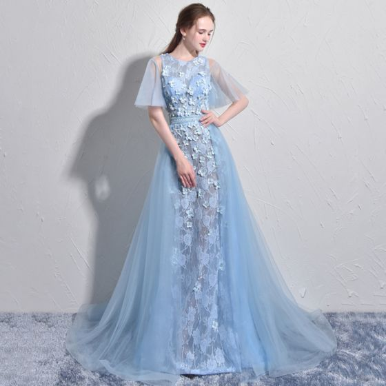 Stunning Sky Blue Evening Dresses  2017 A-Line / Princess Scoop Neck 1/2 Sleeves Appliques Flower Pearl Court Train Backless Formal Dresses