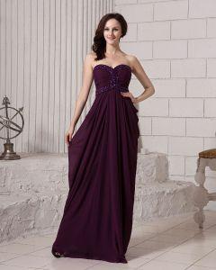 Ruffle Beading Sweetheart Neckline Backless Chiffon Women Evening Dress
