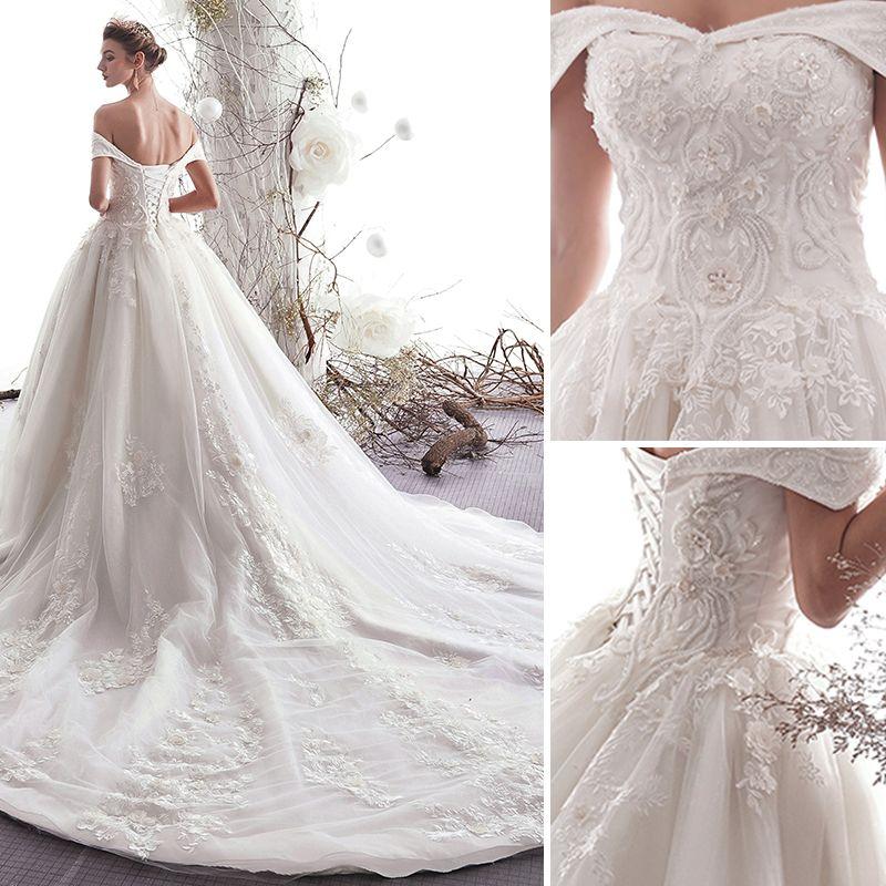 Elegant Ivory Wedding Dresses 2019 A-Line / Princess Off-The-Shoulder Beading Lace Flower Short Sleeve Backless Cathedral Train
