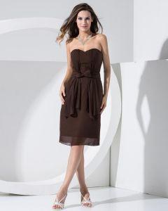 Trägerlosen Ausschnitt Ärmellosen Oberschenkellänge Bowknot Gefaltetes Chiffon- Frau Abendkleider
