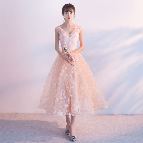 Chic / Beautiful Pearl Pink Homecoming Graduation Dresses 2017 A-Line / Princess V-Neck Sleeveless Appliques Flower Sash Ankle Length Ruffle Backless Formal Dresses