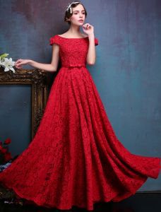 Elegant Evening Dresses 2016 Backless Short Sleeves Beading Red Lace Formal Dresses With Bow Sash