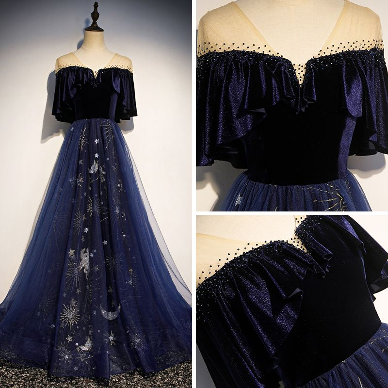 Modern / Fashion Navy Blue Suede See-through Evening Dresses  2019 A-Line / Princess V-Neck 1/2 Sleeves Rhinestone Glitter Sequins Floor-Length / Long Ruffle Backless Formal Dresses