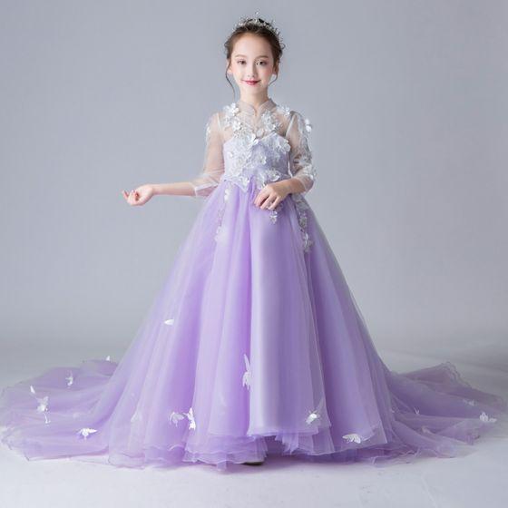 Estilo Chino Transparentes Espliego Vestidos Para Niñas 2019 A Line Princess Cuello Alto 34 ærmer Apliques Flor Rhinestone Perla Colas De La Corte
