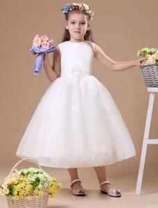 Romantische Elfenbein Satin Blumenmädchen Kleid Kommunionkleider