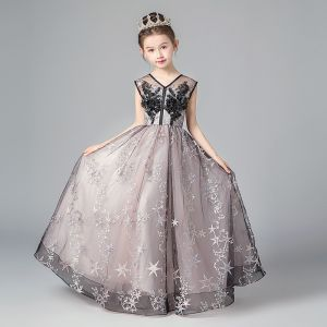 Chic / Beautiful Black Blushing Pink Flower Girl Dresses 2019 A-Line / Princess V-Neck Sleeveless Star Appliques Lace Floor-Length / Long Ruffle Backless Wedding Party Dresses