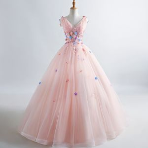 Élégant Perle Rose Robe De Bal 2019 Princesse V-Cou Appliques Perle En Dentelle Fleur Sans Manches Dos Nu Longue Robe De Ceremonie