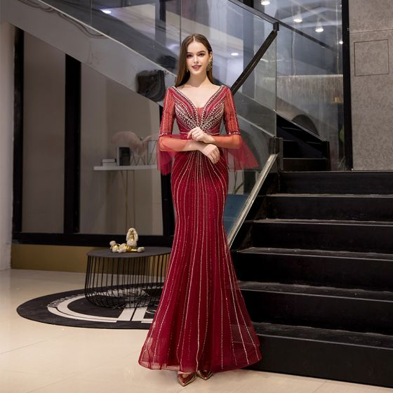High-end Burgundy Evening Dresses  2020 Trumpet / Mermaid Deep V-Neck 3/4 Sleeve Bell sleeves Handmade  Beading Floor-Length / Long Ruffle Backless Formal Dresses