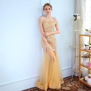 Luxury / Gorgeous Evening Dresses  2017 Trumpet / Mermaid Lace Flower Crystal Off-The-Shoulder Backless Short Sleeve Floor-Length / Long Formal Dresses