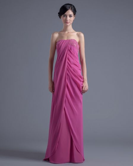 Elegant Strapless Floor Length Beading Pleated Chiffon Bridesmaid Dress
