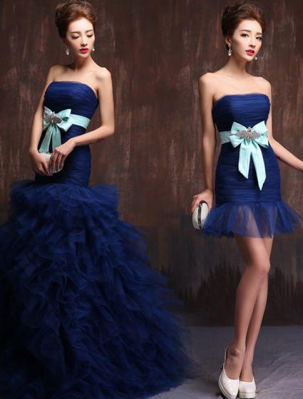 2015 Elegant Strapless Bow Sash Ruffles Royal Blue Prom Dress