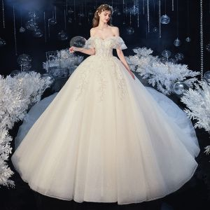 Chic / Beautiful Champagne Bridal Wedding Dresses 2020 Ball Gown Off-The-Shoulder Short Sleeve Sleeveless Backless Appliques Lace Beading Sequins Glitter Tulle Cathedral Train Ruffle