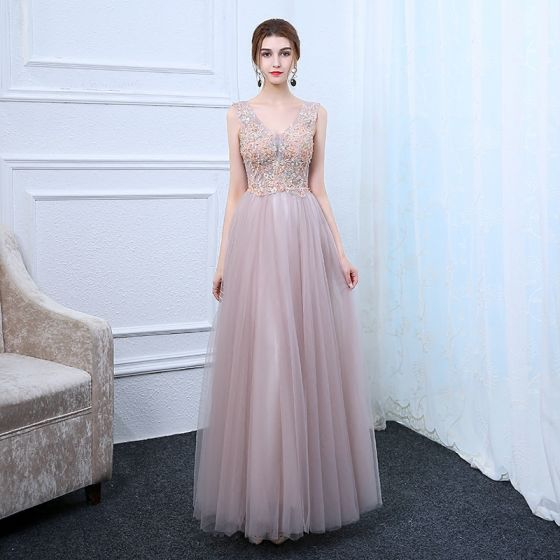 Chic / Beautiful Lavender Pearl Pink Evening Dresses  2017 A-Line / Princess V-Neck Sleeveless Appliques Flower Crystal Floor-Length / Long Ruffle Backless Formal Dresses