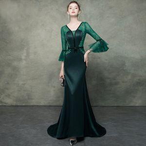 Elegant Dark Green See-through Evening Dresses  2019 Trumpet / Mermaid V-Neck Bell sleeves Rhinestone Beading Sash Sweep Train Ruffle Backless Formal Dresses