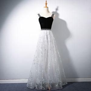 Moderne / Mode Noire Robe De Bal 2018 Princesse Paillettes Étoile Bretelles Spaghetti Dos Nu Sans Manches Longue Robe De Ceremonie