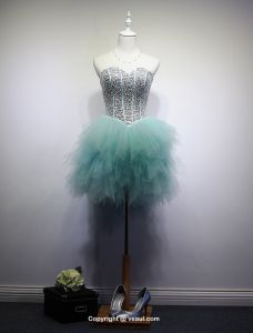 Sparkly Sweetheart Sequins Pool Blue Tulle Short Cocktail Dress