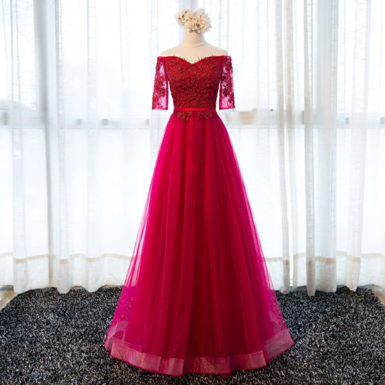 Chic / Beautiful Burgundy Evening Dresses  2017 A-Line / Princess Off-The-Shoulder 1/2 Sleeves Appliques Lace Sash Floor-Length / Long Ruffle Backless Formal Dresses