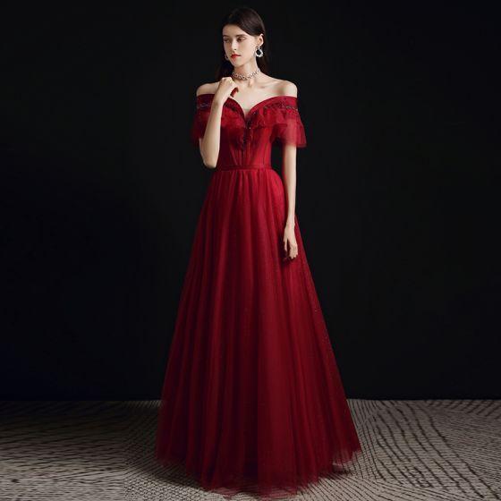 Charming Burgundy Glitter Beading Prom Dresses 2021 A-Line / Princess Off-The-Shoulder Short Sleeve Backless Floor-Length / Long Formal Dresses
