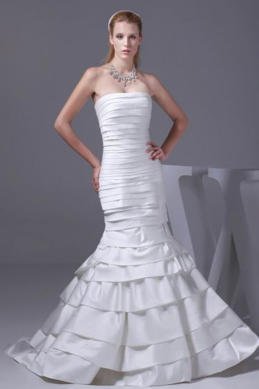 Fashion Satin Silk Pleated Strapless Floor Length Mermaid Wedding Dress