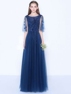 Sexy Blue Evening Dress Appliques Lace Long Formal Dress Backless