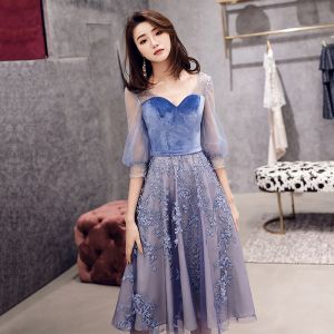 Best Ocean Blue See-through Homecoming Graduation Dresses 2019 A-Line / Princess V-Neck Puffy 3/4 Sleeve Appliques Lace Beading Rhinestone Tea-length Ruffle Backless Formal Dresses