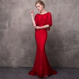 Elegant Burgundy Evening Dresses  With Shawl 2018 Trumpet / Mermaid Scoop Neck Pearl Beading Court Train Ruffle Formal Dresses