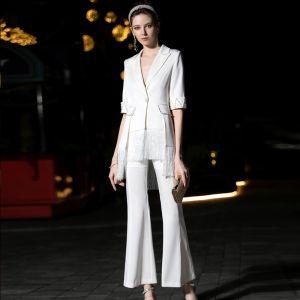 Luxe Witte Jumpsuit 2019 V-Hals 1/2 Mouwen Parel Kwast Enkellange Avondjurken
