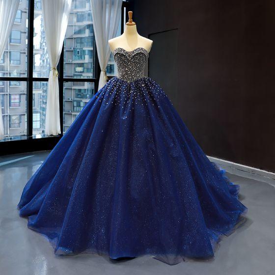 Starry Sky Royal Blue Prom Dresses 2020 Ball Gown Sweetheart Sleeveless Beading Glitter Tulle Chapel Train Ruffle Backless Formal Dresses