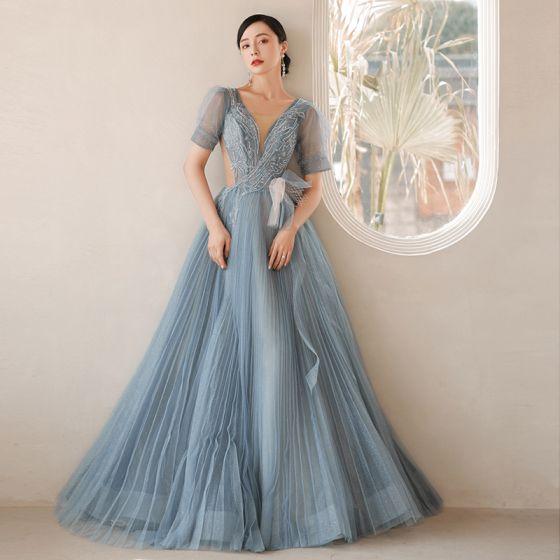 Mode Himmelsblå Balklänningar Aftonklänningar 2021 Prinsessa U-Hals Beading Rhinestone Korta ärm Halterneck Långa Formella Klänningar