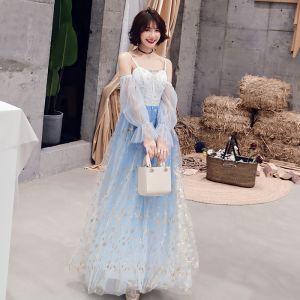 Modern / Fashion Sky Blue Evening Dresses  2019 A-Line / Princess Spaghetti Straps Sequins Long Sleeve Backless Floor-Length / Long Formal Dresses