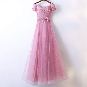 Mooie / Prachtige Candy Roze Bruidsmeisjes Jurken 2017 A lijn Kant Bloem Kralen Ronde Hals Korte Mouwen Enkellange Jurken Voor Bruiloft