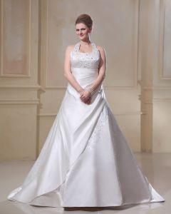 Satin Stickerei Scoop Gericht Große Größen Brautkleider Hochzeitskleid